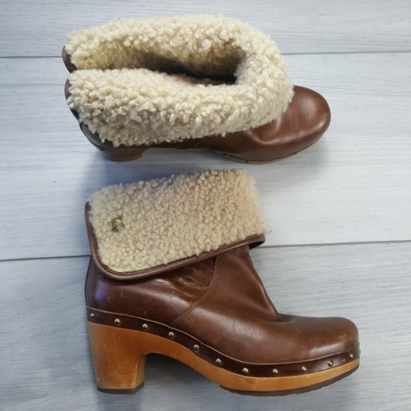8c80844471e UGG Lynnea Brown Leather Fold Over Boots Size 8